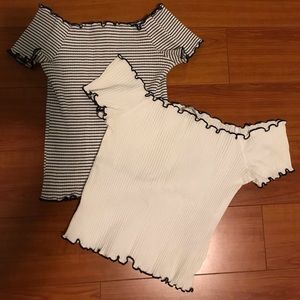 Two for one Zara off the shoulder croptops